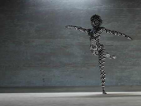 checker: Checker Board woman in dance pose Stock Photo