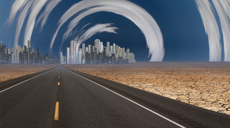 surreal: Gleaming city in desert with surreal clouds