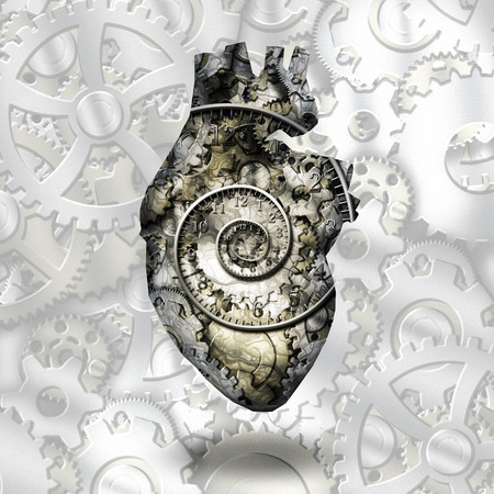 Human heart gears and time spirial