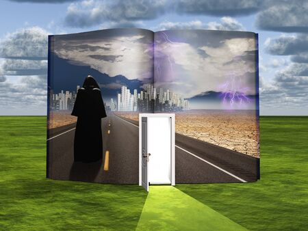 fantasy fiction: Book with science fiction scene and open doorway of light Stock Photo