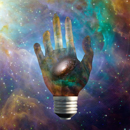 human touch: Cosmic light bulb with stars Stock Photo