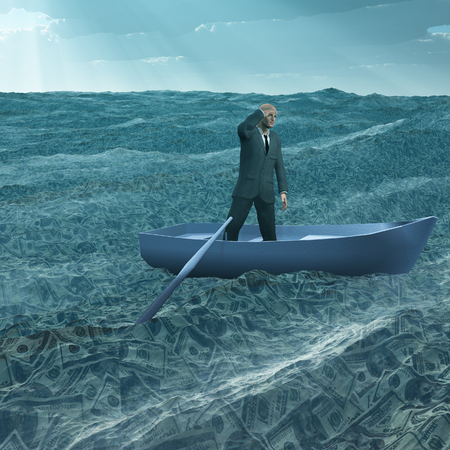 afloat: Man afloat in tiny boat on sea of currency