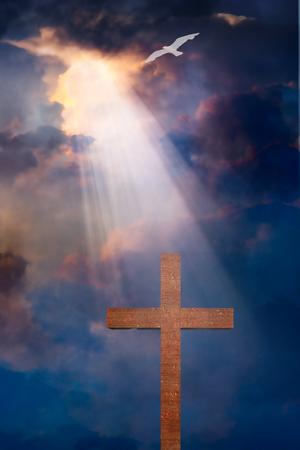dramatic: Cross and dramatic sky Stock Photo