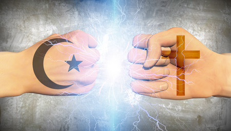 religions: Clash of religion Stock Photo