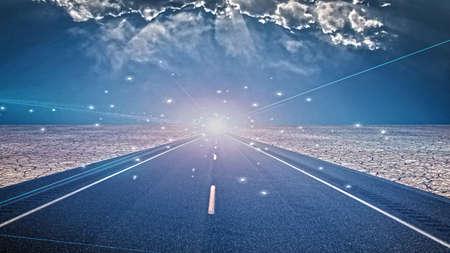 roadway: Light on roadway Stock Photo