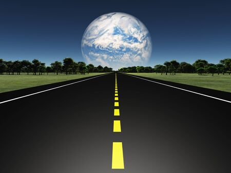 hiway: Road on Alien earth like planet with twin planet in distance or earth with tearraformed moon Stock Photo