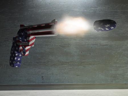 gun trigger: USA Gun Fires Bullet Stock Photo
