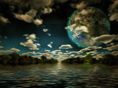 LUNA: Terraformed luna or exo planet landscape