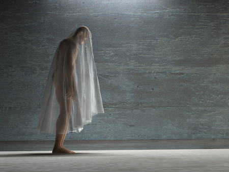 oppressed: Figure hunched over under transparent cloth