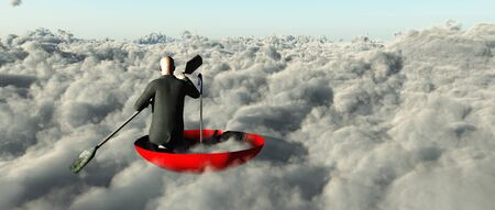 upturned: Man paddling through clouds in an upturned umbrella