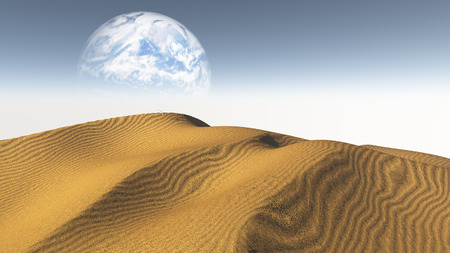 the silence of the world: Amber Sand  Desert with Terraformed Moon or earth from terraformed moon or exoplanet