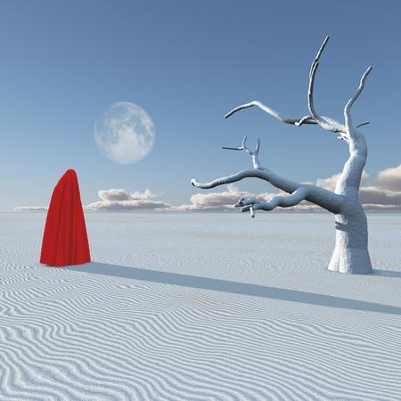 Surreal figure in desert Imagens