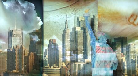 american cities: America NYC with Statue of Liberty Stock Photo