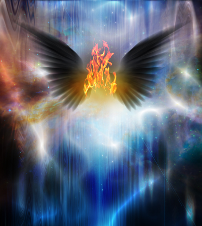 sinful: Black winged being of fire Stock Photo