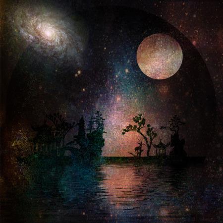 noche y luna: Asia Paisaje Jardín