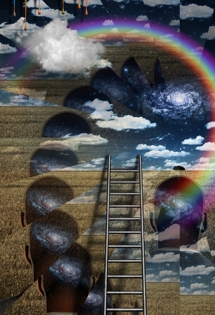 metaphysical: Ladder leans on spiritual art Stock Photo