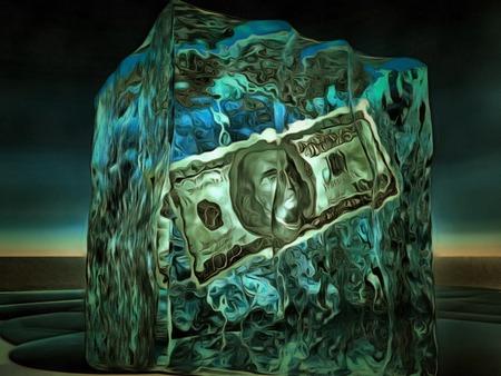 money savings: 100 Dolloar Bill Frozen in Ice Stock Photo