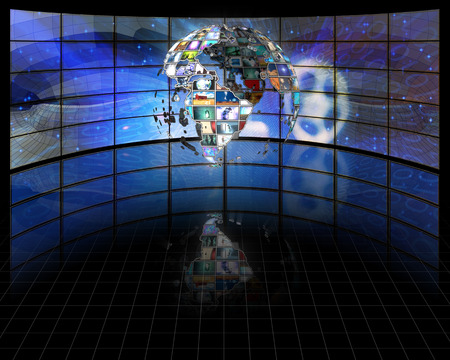 broadcasting: Planet earth sphere of video screens Stock Photo