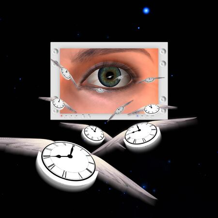 business focus: Flying time with eyes Stock Photo