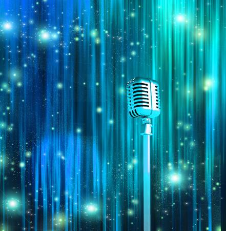 microfono antiguo: Micrófono clásico con cortinas de colores