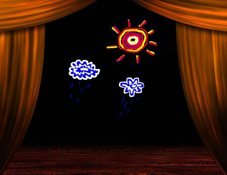 niños actuando: Dibujos animados como tiempo en escenario