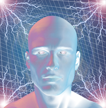 bionics: Man surreal with electricty Stock Photo