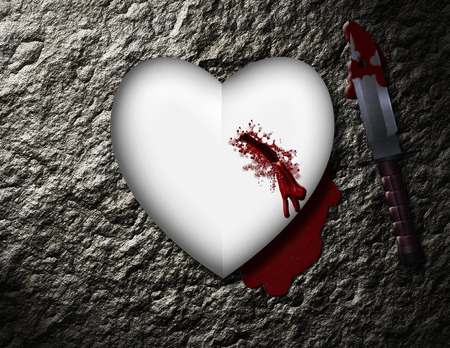 to pierce: bleeding heart with bloody knife Stock Photo