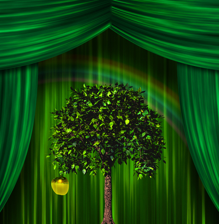 appletree: Tree and apple before curtains