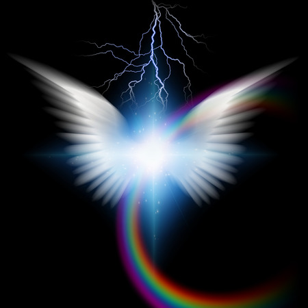 Angelic wings with lighting Stock Photo