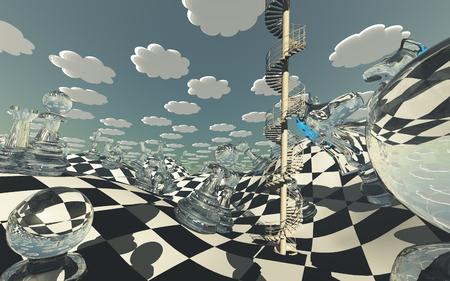 シュールなチェス盤の風景