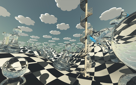 chess board: Surreal Chess board Landscape Stock Photo
