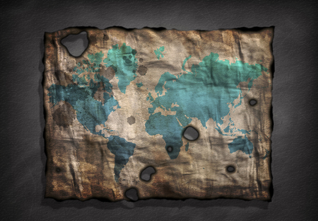 distressed paper: World Map on old distressed Paper