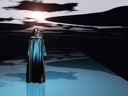 moody sky: Figura ammantata prima del buio