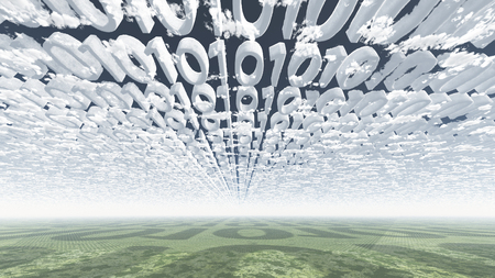 encode: Binary code clouds Stock Photo