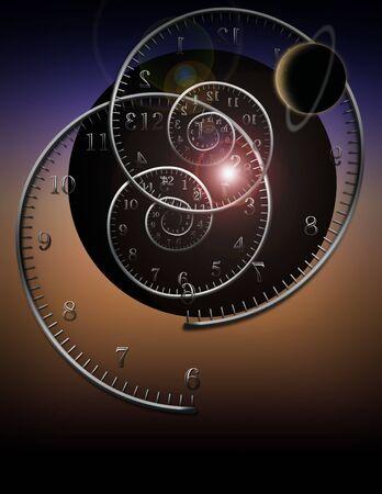 kosmos: Spiral Uhren und Raum-Zeit