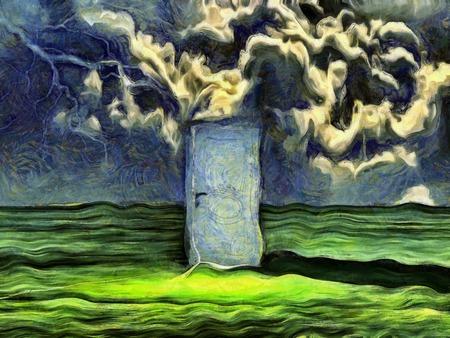 warped: Warped painting of doorway in empty green