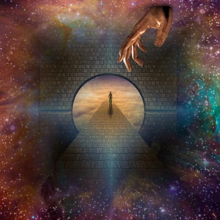 passage: Man enters passage in stars Stock Photo
