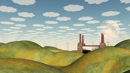 hilly: Bucolic Landscape with Factory