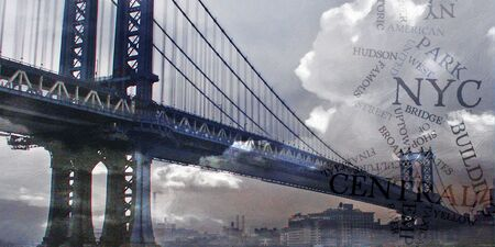 suspension bridge: Manhattan Bridge with Clouds