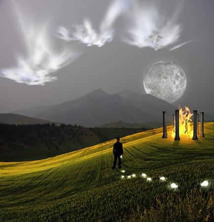 ghostlike: Ghostlike faces above landscape
