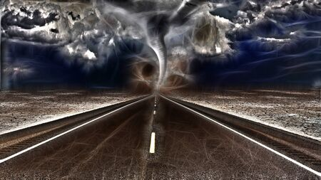 leads: Road leads into desert with raging storm