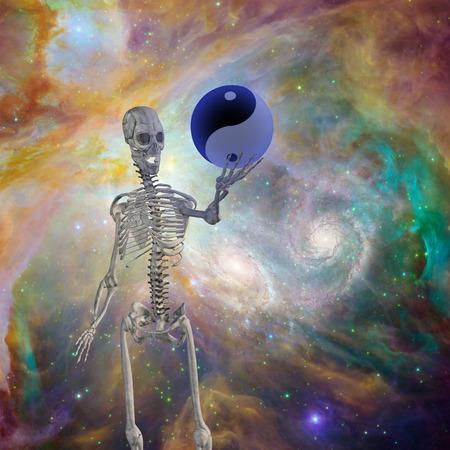 opposing: Yin Yang Sphere held up by skeleton