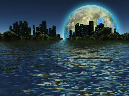 moon  metropolis: Terraformed moon as seen on future earth