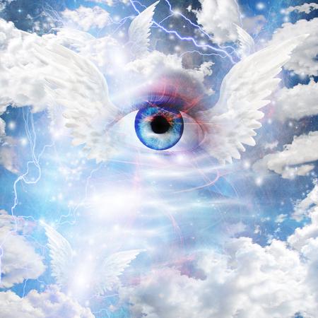 messengers of god: Winged Eye Stock Photo