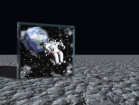 exploration: Box on lunar like surface contains astronaut and space