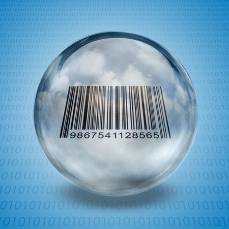 Barcode enclosed in glass sphere Stock Photo