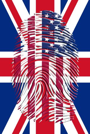 uk: USA UK Finger Print Stock Photo