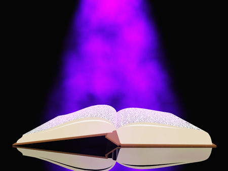 mystical: Book with light Stock Photo