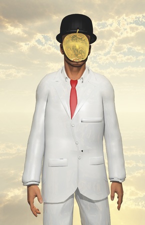 mystique: Man in white suit with face hidden by mettalic apple