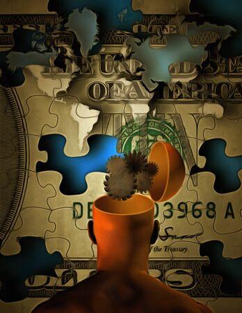 mapas conceptuales: concepto del dinero Foto de archivo